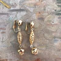 Vintage Gold Tone Drop Dangle Floral Clip On Earrings