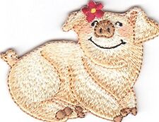 PIG  - FARM - ANIMAL - PIGGY - Iron On Embroidered Applique Patch