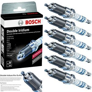 6 Bosch Double Iridium Spark Plugs For 2009-2012 LINCOLN MKS V6-3.7L