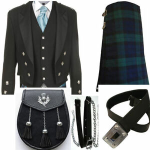 Scottish Men Black Prince Charlie Jacket&black watch tartan kilt Wedding Out Fit