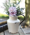 Vintage Enamel Farmhouse Primitive Decorative Vase  Pitcher with Handle