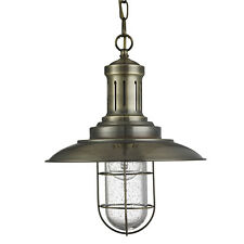 Fisherman Antique Brass Ceiling Light Pendant Fitting Caged Shade Home Lights