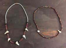 2 fetish totem necklaces chokers mother of pearl shell beads dolphin bear fox