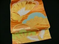 Orange Silk Japanese ROKUTSUU FUKURO OBI w/Pine Tree, Butterflies N505