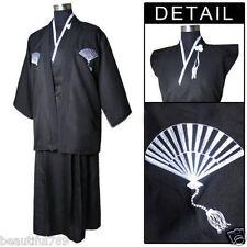 New Style Black Men's Yukata Japanese Haori warrior Kimono Robe Cosplay Costume!