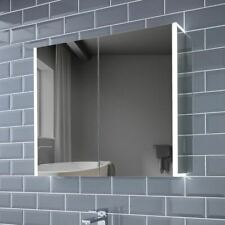815x700mm Grace LED Bathroom Mirror Double Cabinet Bluetooth Speakers | Shaver