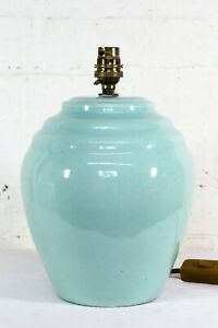 Table Lamp Antique Art  Deco English Jade Green Ceramic Lamp Pearsons 1920s 30s