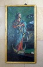 Tableau ancien fin XIXe déb XXe huile peinture Vierge statue signé M Delfieu