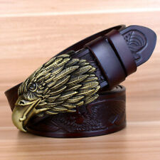 Designers Luxury Vintage Men Belt Eagle Head Pattern Buckle Cow Genuine Leather