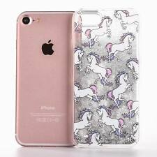 3D White Horse Colorful Dynamic Liquid Quicksand Case Cover For iPhone 7 Plus 6S