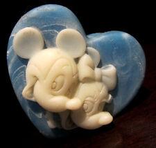 RARE Disney Mickey Minnie Mouse Blue and White Soap Stone Heart Trinket Box