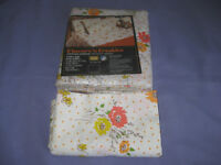 "VTG SEARS Perma Prest Muslin Twin Flat Sheet +pillowcases  ""Flowers""n Freckles"""