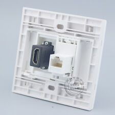 Wall Face Plate RJ45 Cat5e LAN In line + HDMI Outlet Faceplate Wall Socket