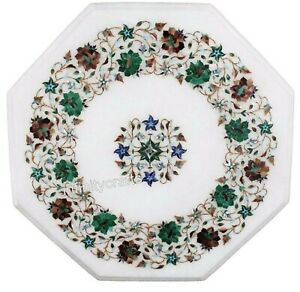 Marble Coffee Table Top Inlay Semi Precious Gemstones Corner Table Top 16 Inches