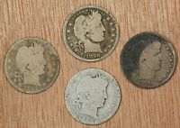 1895, 1899, 1898 & 1901 - (4) Barber Quarters, 25c, Circulated - Collectors Coin