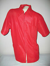 Men's SEARS Professional Apparel Full Zip Ribbed Short Sleeve Top