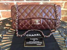 AUTH CHANEL Dark Red East West Lambskin Quilted Classic Flap Handbag/Silver HD