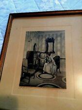 "Vintage Print by Villar Titled A Book Lover Matted & Framed 11"" x 13"" Signed"