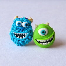 Monsters Inc Sulley and Mike Disney Blue Green Polymer Clay Fimo Stud Earrings