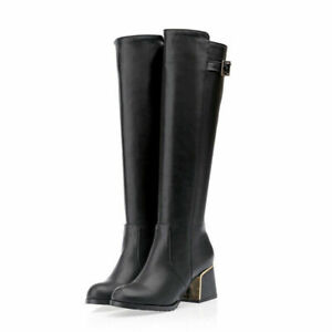 Womens Casual Round Toe Knee High Knight Boots Cuban Mid Heels Buckle Strap Shoe