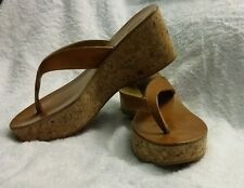K Jacques St. Tropez Light Brown Leather Cork Wedge Flip Flop Sandals Size 37