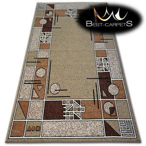 "MODERN DESIGNS & CHEAP BCF RUGS beige SQUARES ""BASE"" LARGE SIZE Best-Carpets"