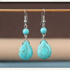Earrings Featured Texture Stone Ea Xy Retro Simple Drops Natural Stone Turquoise