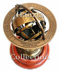 Brass Armillary Sphere Astrolabe on Wood Base Maritime Nautical Collectible Gift