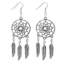 Dangling Silver Dream Catcher Feather Earrings - Hippie Boho Bohemian Tribal