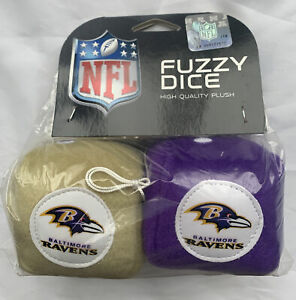 "Baltimore Ravens Fuzzy Dice 3"" Plush NFL Football Fremont Die - New"