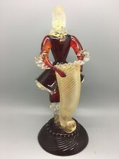 Estatuilla de cristal de Murano Salviati veneciano Ruby con oro Venturina italiano