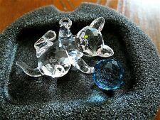 Swarovski Silver Crystal Kitten Lying with Blue Ball of Wool 631857 Retired Box