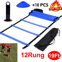 Speed Agility Train Kit 12 Rung Training Ladder + 10pc Disc Cones Speed Training