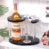 Dolls House Miniature Wine Rack Bottle Cup Glass Set Kitchen Pub Bar Drink Decor