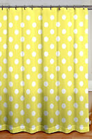 """CHIC SHABBY COTTAGE STYLE YELLOW POLKA DOT FABRIC SHOWER CURTAIN 72"""" X 72"""" NWT"""