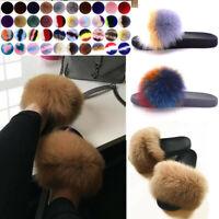 Women's Ladies Real Fur Flat Shoes Fluffy Flip Flops Slippers Sliders Sandals UK