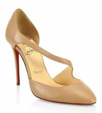 Christian Louboutin Catchy One 100 Nude Nappa Leather Strap Sandal Heel Pump 40