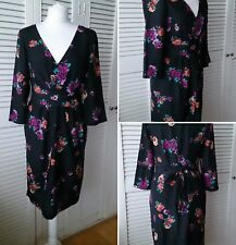 Monsoon Black Satin Chinoiserie Print Midi Dress Size 12 Party Evening Occasion