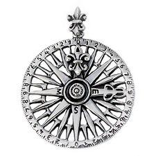925 solid Sterling silver Nautical compass with Fleur de Lis pendant