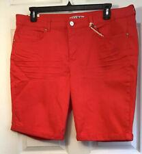 CODE BLEU Women Plus Size 16W Red SOHO BERMUDA SHORTS 5 Pockets Cotton Blend NEW