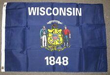 WISCONSIN 1848 STATE FLAG  2X3 FEET  MILWAUKEE  GREAT LAKES REGIONS  2'X3'  F716