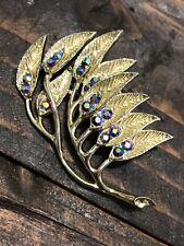 Vtg Feather Blowing Leaf Crystal Rhinestones Rhinestone Brooch Pin Blue AB Gold