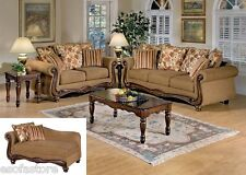 Olysseus Fabric Set Sofa Loveseat & Chaise Brown Floral Pillows Living Room