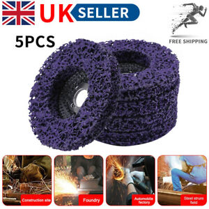 5 Pcs Poly Strip Disc Wheel Paint Rust Removal Clean For Angle Grinder 100mm