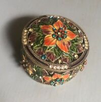Bejeweled Pillbox Trinket Jewelry Pill Box Etched Decorative Enameled Cloissone