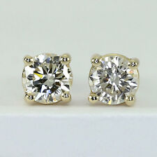 Diamond stud earrings 14K y/gold round brilliants .45CT screw back studs NEW/TAG