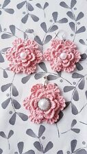 Handmade crochet jewellery earrings & pendant 925 silver pink flower