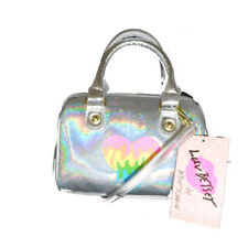 NWT LUV BETSEY JOHNSON LB HARLLI Iridescent Silver Mini Barrel Crossbody Bag