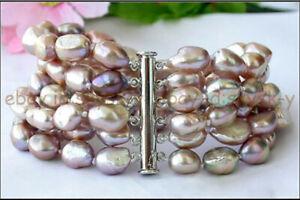 6 Rows 8-9mm Natural Lavender Purple Freshwater Baroque Pearl Bracelet 7.5''