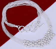 925 Sterling Silver Small Beads Pendant Charm Necklace Link Chain Stunning Gift